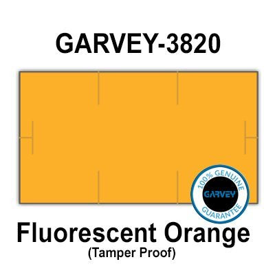 255,000 Genuine GARVEY 1910 Fluorescent Orange General Purpose Labels: Full case - 15 Ink Rollers - Tamper Proof Security cuts [Compatible with Monarch Price Guns]
