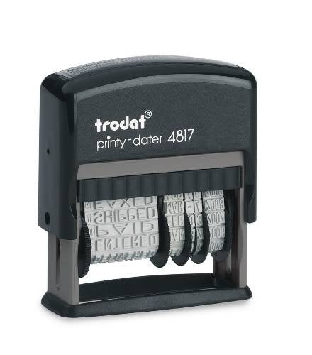 Trodat Rotating Stock Message Phrase Dater Self-Inking Rubber Stamp - Answered, Checked, Back Ordered, Delivered, Cancelled, Entered, Billed, Paid, Received, Shipped, Charged, FAXED (Red)