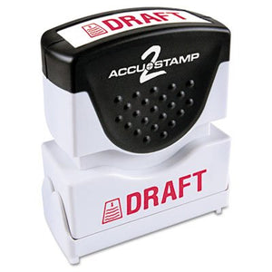 ACCUSTAMP2 Accustamp2 Shutter Stamp with Microban, Red, DRAFT, 1 5/8 x 1/2
