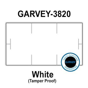 510,000 (2 Cases) GENUINE GARVEY 1910 White General Purpose Labels: 30 ink rollers - tamper proof security cuts [compatible with Monarch Price Guns]