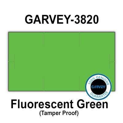 255,000 GENUINE GARVEY 1910 Fluorescent Green General Purpose Labels: full case - 15 ink rollers - tamper proof security cuts [compatible with Monarch Price Guns]