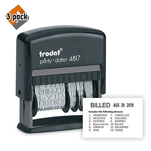 Trodat Printy 4817 Self-Inking Economy 12-Message and Date Stamp, Black 3 Pack