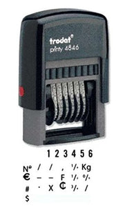 "Trodat .125"" x .6875"" 6 Digit Self-Inking Numberer Rubber Stamp (Blue)"