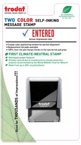 Trodat 4912 Rectangle Stock 2 Colors Self Inking Rubber Stamp with Entered with Pic
