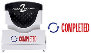 "ACCU-STAMP2 Message Stamp with Shutter, 2-Color, COMPLETED, 1-5/8"" x 1/2"" Impression, Pre-Ink, Red and Blue Ink (035538)"