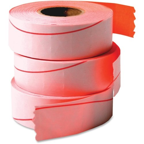 Consolidated Stamp Mfg.,Co. Labels, 1-Line, 3 Roll, Flourescent Red