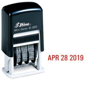 Shiny Self-Inking Rubber Date Stamp - S-300 - RED Ink (42510-R)