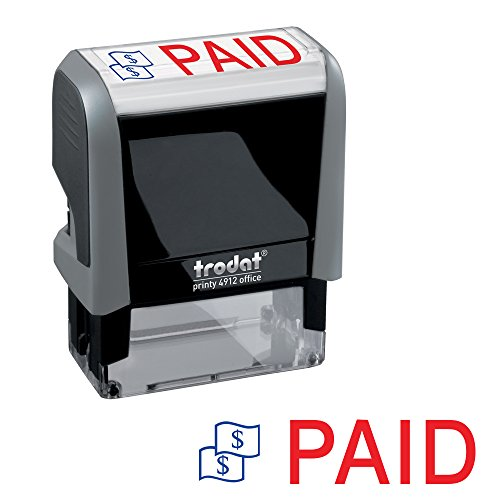 Paid Trodat Printy 4912 Self-Inking Two Color Stock Message Stamp