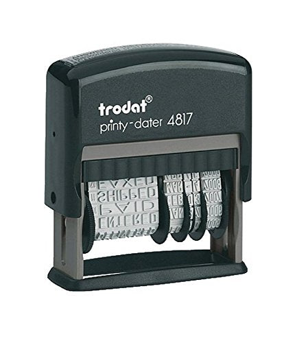 Trodat 4817 Date Stamp with 12 Changeable Messages (Blue)