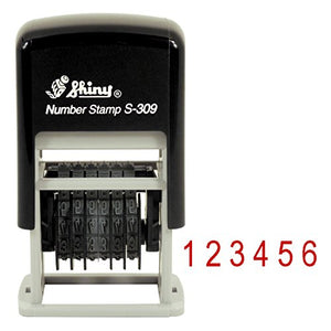 Shiny Self-Inking 6 Band Rubber Numberer - S-309 - RED Ink (42513-R)
