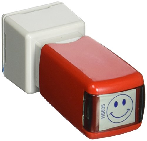 Shiny Happy Face Round Stock Stamp, Blue (HS035)