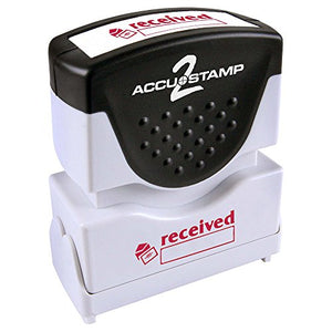 "ACCU-STAMP2 Message Stamp with Shutter, 1-Color, RECEIVED, 1-5/8"" x 1/2"" Impression, Pre-Ink, Red Ink (035570)"