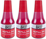 2000 PLUS Ink Refill for Self-Inking Stamps and Stamp Pads, Red, 0.9oz (032960) 3 Pack