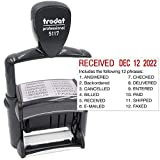 Trodat 5117 Professional 12-Message Stamp w/Dater, Self-Inking, Red Ink Color
