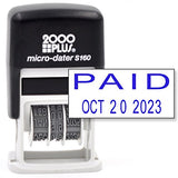 Cosco 2000 Plus Self-Inking Rubber Date Office Stamp with Paid Phrase & Date - Blue Ink (Micro-Dater 160), 12-Year Band