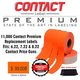 Contact Price Gun Replacement Labels - Orange Pricing Labels for Contact 6.22, 7.22 and 8.22 Price Guns. 1-Sleeve Includes, 9-Rolls (11,000 Labels) and 1 Premium Ink Roller