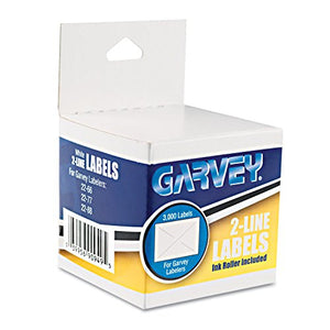 Garvey 090949 Two-Line Pricemarker Labels, 5/8 x 13/16, White, 1000/Roll, 3 Rolls/Box