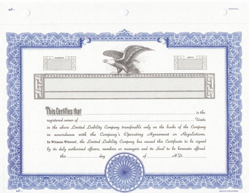 Duke 17 Limited Liability Company Certificates (Pack of 25)