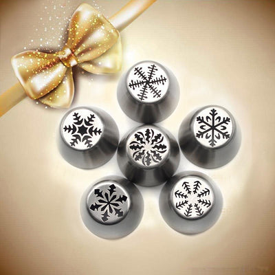 Snowflake-Shaped Frosting Nozzles (6 pieces)