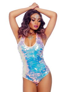 Pink Hope Iridescent Sequin Spandex Halter Bodysuit