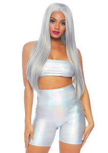 Silver Ruby 2 Piece Holographic Metallic Spandex Bandeau and Bike Shorts