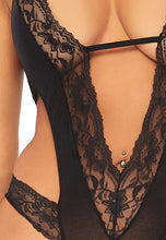 Load image into Gallery viewer, Black Ruth Stretch Lace Deep-V Teddy with Opaque Backless Panty