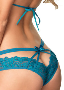 Peacock Blue Laura 2 Piece Strappy Lace Halter Bra Top Peek-A-Boo Brazilian Panty