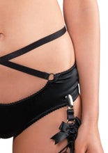 Load image into Gallery viewer, Black Ella 2 Piece Underwire Cage Strap Bra and Panty