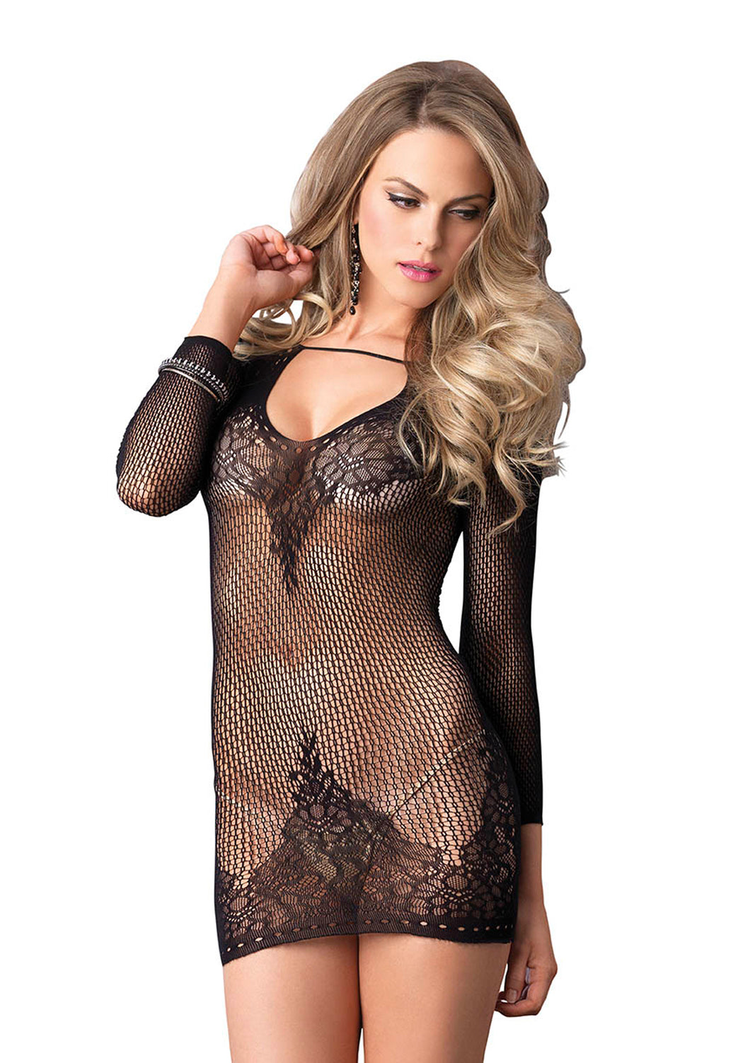 Black Shelley Long Sleeved Ring Net And Floral Lace Mini Dress
