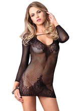 Load image into Gallery viewer, Black Shelley Long Sleeved Ring Net And Floral Lace Mini Dress