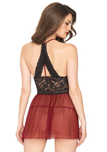 Burgundy Kelly 2 Piece Sheer Halter Babydoll with Floral Lace Empire Waist