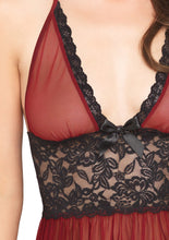 Load image into Gallery viewer, Burgundy Kelly 2 Piece Sheer Halter Babydoll with Floral Lace Empire Waist
