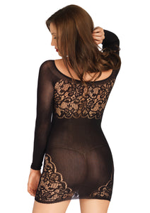 Black Michelle  Seamless Opaque Long Sleeved Floral Lace Mini Dress