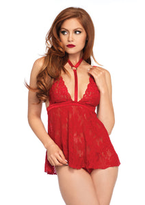 Red Gia 2 Piece Lace Harness Halter Babydoll and Matching G-String