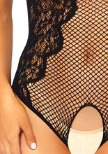 Load image into Gallery viewer, Black Naomi Net and Lace Crotchless Teddy