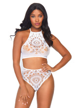 Load image into Gallery viewer, White Molly 2Piece Crochet Lace Halter Crop Top with Strappy Back Detail and Matching High Waist Thong