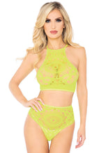 Load image into Gallery viewer, Neon Yellow Molly 2Piece Crochet Lace Halter Crop Top with Strappy Back Detail and Matching High Waist Thong