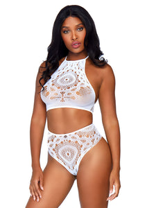 White Molly 2Piece Crochet Lace Halter Crop Top with Strappy Back Detail and Matching High Waist Thong