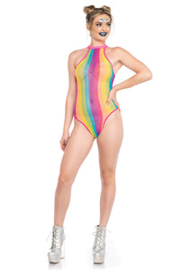 Multicolor Alice Rainbow Striped Halter Bodysuit with Snap Crotch