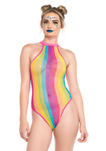 Load image into Gallery viewer, Multicolor Alice Rainbow Striped Halter Bodysuit with Snap Crotch