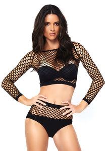 Black Isabelle 2 Piece Industrial Net Long Sleeved Crop Top and Matching Bottom