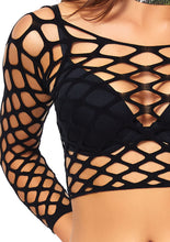 Load image into Gallery viewer, Black Millie Pothole Net Long Sleeved Crop Top