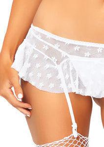 White Ellie 2 Piece Lace Trimmed Floral Mesh Bralette and Matching Garter Skirt