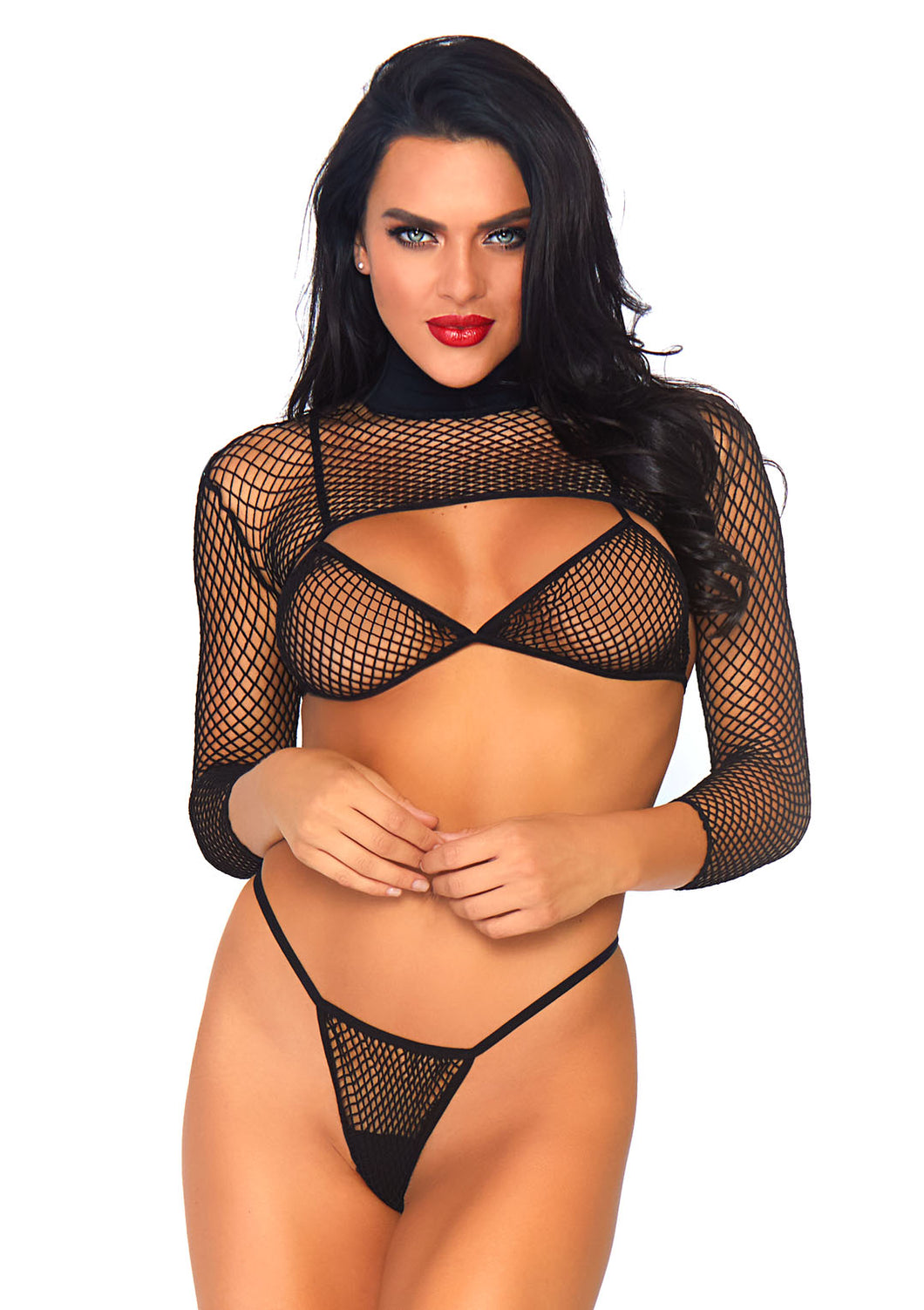 Black 3 Piece Industrial Net Bikini Top and Thong and Long Sleeved Crop Top