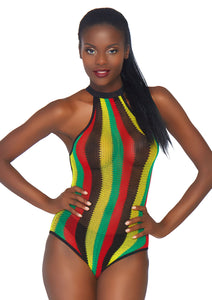 Multicolor Hope Rasta Net Racer Back Bodysuit with Snap Crotch