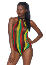 Load image into Gallery viewer, Multicolor Hope Rasta Net Racer Back Bodysuit with Snap Crotch