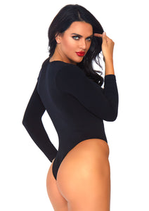 Black Mia Spandex Opaque Faux Lace Up Long Sleeved Bodysuit