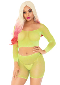 Neon Yellow Morgan 2 Piece Rhinestone Fishnet Long Sleeve Crop Top and Biker Shorts