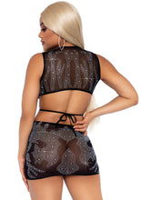 Load image into Gallery viewer, Black Erin 2 Piece Rhinestone Sheer Wrap Around Crop Top and Matching Mini Skirt