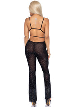 Load image into Gallery viewer, Black Erica 2 Piece Rhinestone Mesh Bikini Top and Strappy Flared Pants